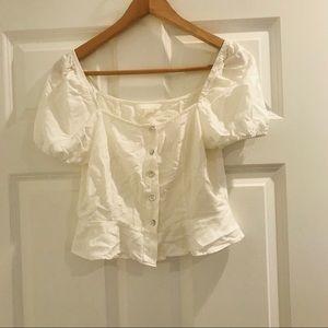 H&M white cropped milkmaid ruffle sleeve top